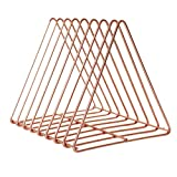 Vosarea Metal Desktop Bookshelf Triangle Shaped Tabletop Book Rack Modern Minimalist Bookcase for Home Office (Rose Gold)