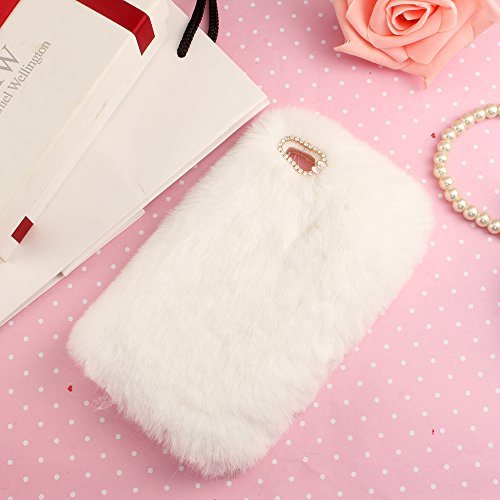 Case for P9 Lite, Handmade Case for Huawei P9 Lite, SevenPanda Plush Rabbit Hair Protective Case Stylish Cute Diamond Rhinestone Crystal Bow TPU Silicone Shell for Huawei P9 Lite 2016 - White