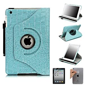 E LV Cover for iPad Mini 2 with Retina Display (7.9 inch Tablet) & iPad Mini (7.9 inch Tablet) 360 Degrees Rotating Stand Leather Smart Case Luxury Crocodile/Tribal Pattern with 1 Screen Protector, 1 Black Stylus and Microfiber Digital Cleaner (With Auto Wake/Sleep Smart Cover Function) (Blue, iPad Mini 2 with Retina Display & iPad Mini)