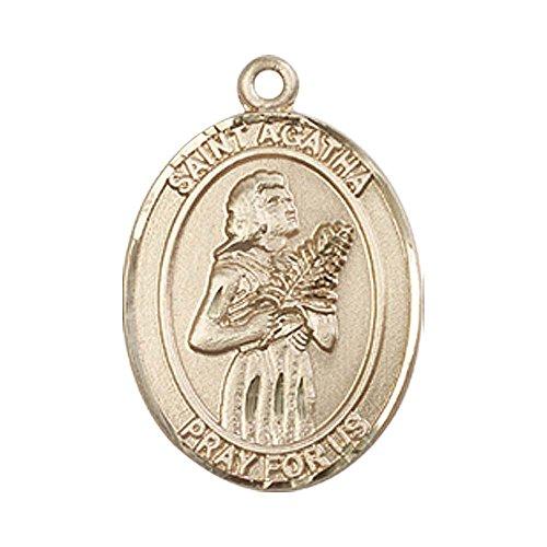 - 14kt Gold St. Agatha Medal. Patron Saint of Nurses/Breast Cancer