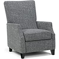 Simpli Home Noah Push Arm Recliner, Grey