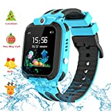 Themoemoe Kids GPS Watch. Kids Smartwatch with GPS Tracker Touch Screen IP68 Waterproof GPS/LBS Camera SOS Phone Game Birthday Gift for Girls Boys (Blue)