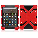 FINDING CASE for Amazon Kindle Fire 7 Alexa,(7' Tablet, 5th Gen 2015 and 7th Gen 2017 Release),Slim Soft Silicone Shockproof Cover Case Also Suitable for other 7' AMAZON kindle Fire versions (Red)