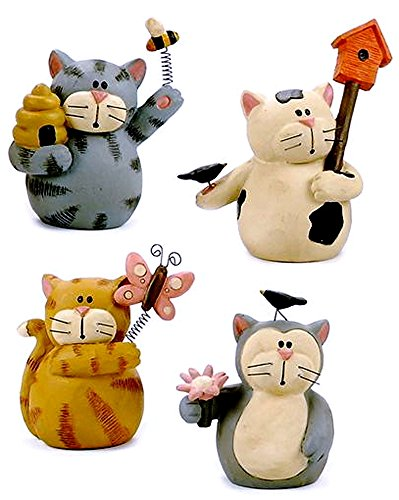"Blossom Bucket ""Spring Kitties"" CAT Kitten Set of Four Resin Figurines"