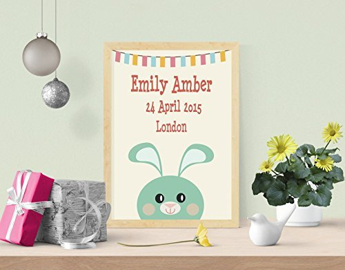 (Personalised Bunny Baby Girls Room A4 Digital Art Print Wall Decor Poster)