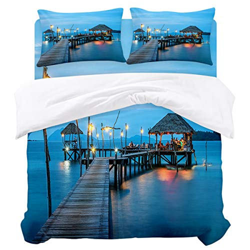 (LUSWEET 4 Pcs Duvet Cover Sets People Gathered at The Resort Pier Bedding Set with Soft Lightweight Microfiber 1 Duvet Cover 1 Bed Sheet 2 Pillowcase, King)