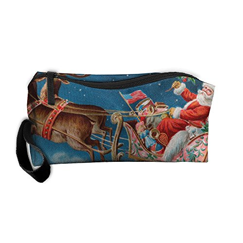 - Santa Claus Sit On Sleigh Pulled By Elk Pattern Makeup Bag Calico Girl Women Travel Portable Cosmetic Bag Sewing Kit Stationery Bags Fashion Storage Pouch Bag Multi-function Bag