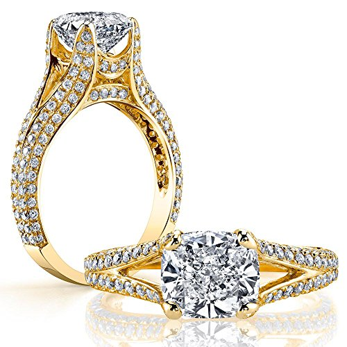 DIAMOND MANSION Classy Natural Cushion Cut Split Shank Micro-Pave Diamond Engagement Ring - GIA Certified (Yellow-Gold, 3.90)