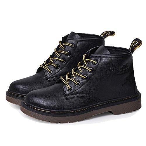Retro mujeres Martin corto botas de piel talón plano invierno caliente Casual cordones tobillo zapatos, 37 35