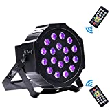 U`King UV Par Lights 18 LED for Stage Lighting by IR Remote and DMX Controller