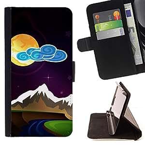 BullDog Case - FOR/Samsung Galaxy S4 Mini i9190 / - / modern painting moon night mountains stylish /- Monedero de cuero de la PU Llevar cubierta de la caja con el ID Credit Card Slots Flip funda de cuer