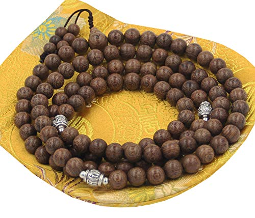 DharmaObjects Tibetan Buddhist Meditation 108 Beads Nyatoh Wood MALA for Compassion (Nyatohwood)