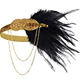 BABEYOND 1920s Flapper Headband Roaring 20s Great Gatsby Headpiece Beaded Black Feather Headband 1920s Flapper Gatsby Hair Accessories