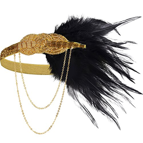 BABEYOND 1920s Flapper Headband Roaring 20s Great Gatsby