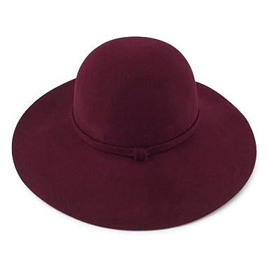 Women s Wide Brim 100% Wool Felt Floppy Bowler Hat (BURGUNDY) at ... b4722dc8708