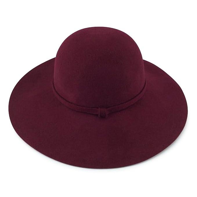 Women s Wide Brim 100% Wool Felt Floppy Bowler Hat (BURGUNDY) at ... 2f08dadc4660