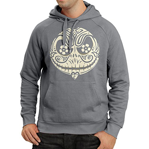 Hoodie The Skull Face -The nightmare - scary Halloween night (X-Large Graphite Multi Color)