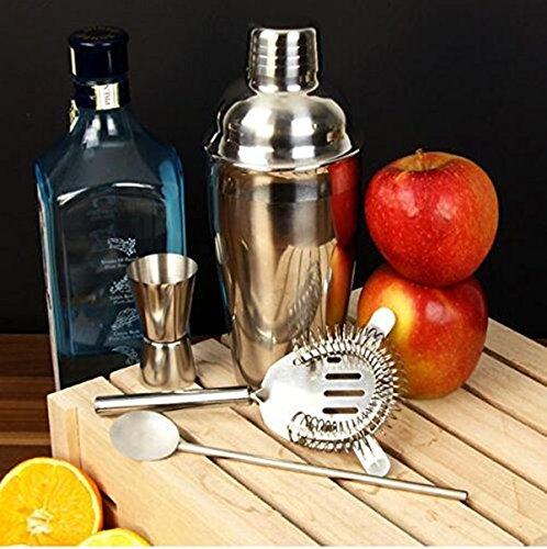 Cocktail Maker Set 10 Pce Home Cocktail Making Kit with Manhattan Cocktail Shaker Bar Measures, Twisted Bar Spoon, Muddler, Mixer, Bottle Pourer, Ice Strainer & Ice Tongs by The Wolf Moon® (Image #3)