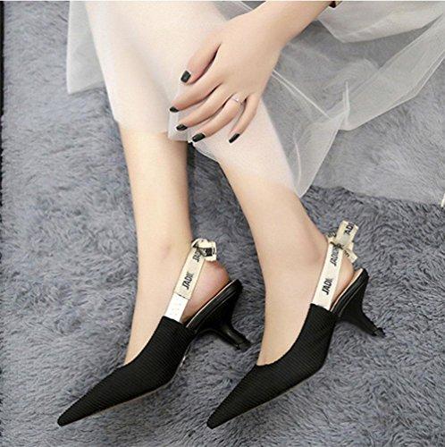 Los zapatos de tacón arco carta gato femeninas con tacones finos señalaron en sandalias de Baotou verano femenino black cloth