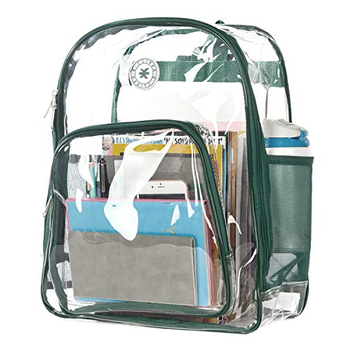 Heavy Duty Clear Backpack See Through Student Bookbag Stadium Security Transparent Workbag (Clear/Green Trim)