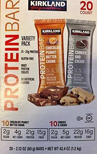 Kirkland Signature Protein Bars, Variety Pack Cookies and Cream & Chocolate Peanut Butter Chunk, 20-Count,