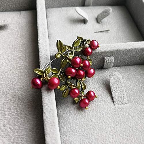 POLPEP s925 Cranberry Bronze Needles Natural Freshwater Pearl Brooch Lapel pin Badge Vintage Flower Earrings Earring Dangler Eardrop Earring Sets (Bronze Pearl Brooch + Green vegetati