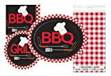 Backyard BBQ Party Supply Kit for 24 Plates Napkins & Tablecover