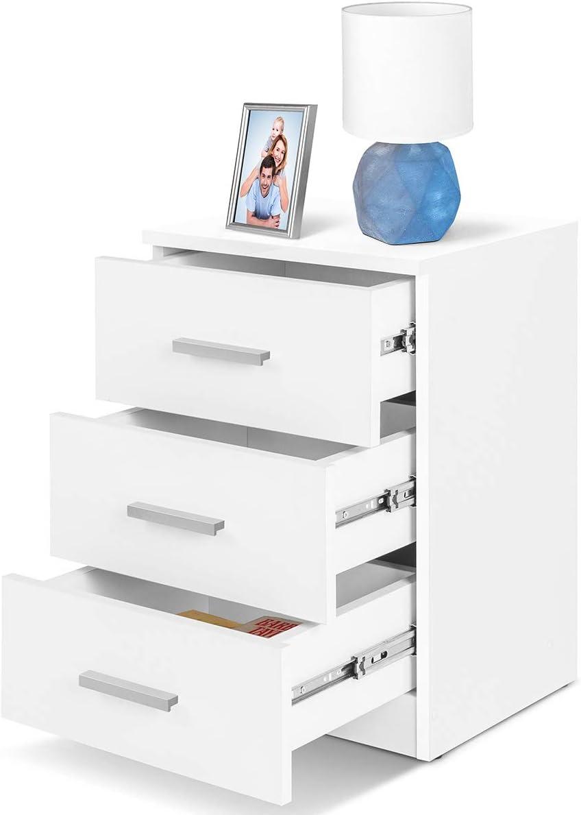 COMIFORT Mesa de Noche - Mesita Auxiliar para el Dormitorio de Estilo Nórdico, Moderna y Minimalista, con 3 Espaciosos Cajones, Muy Resistente, de Color Blanco