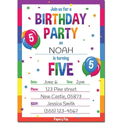 Birthday Invite Wording For 7 Year Old Invitation Boy Good 5th Party Invitations With Envelopes 15 Count