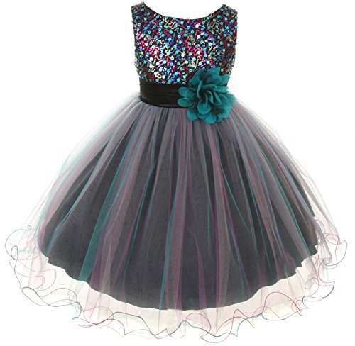 [Sequin Bodice Tulle Special Occasion Holiday Flower Girl Dress - Teal MultiColored 9-10] (Christmas Dresses For Tweens)