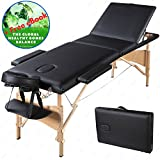 Portable Folding Massage Table 84'' – Professional Comfort Facial SPA Beauty Tattoo Bed – With Gift Carry Case – Black – Plus Bonus Exclusive eBook – by Global Group