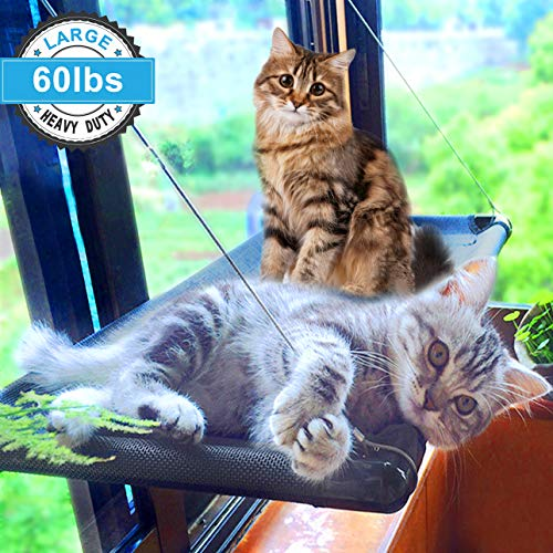 (Cat Bed Window Perch Hammock Sunny Seat for Larger Cats Perches Window Mounted Cat Beds Two Kitty Window Seat Animal Pet Kitten Cot Beds Heavy Duty 4 Suction Cups Holds Up to 60lbs)