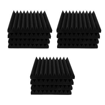 SM SunniMix Tablero de Espuma de Aislamiento Acústico con 10 Piezas Surco Triangular Retardante de Llama