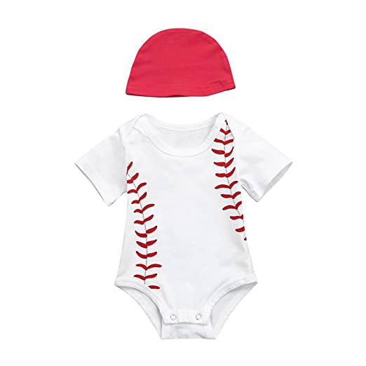 a18e0cb145c Amazon.com  Winsumme Baby Boys Outfits Cotton Short Sleeve Baseball Romper  Bodysuit with Sun Hat Infant Toddler Summer Clothes  Clothing