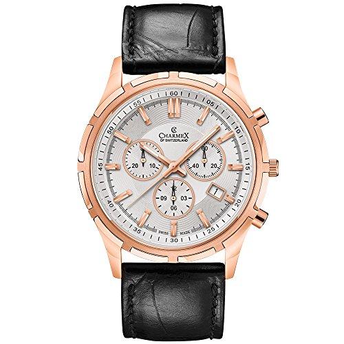 Charmex Men's Hockenheim 42mm Black Leather Band Steel Case Sapphire Crystal Quartz White Dial Watch 2835