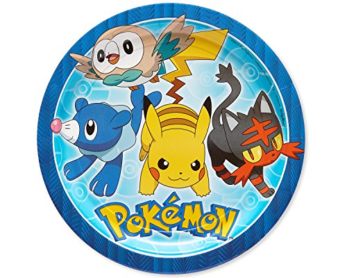 American Greetings Pokémon 8 Count Dinner Round Plate Tableware, Lunch Pieces -