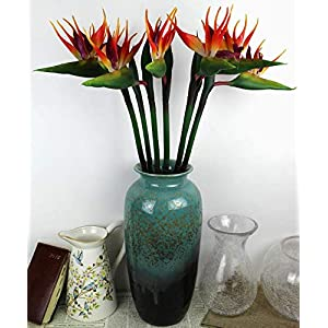 DODXIAOBEUL Large Bird of Paradise 33 Inch Permanent Flower,Flower stem 0.5 Inch,Flower Part is Made of Soft Rubber PU,Artificial Flower Plants for Home Office 2 Pcs (Orange red) 5