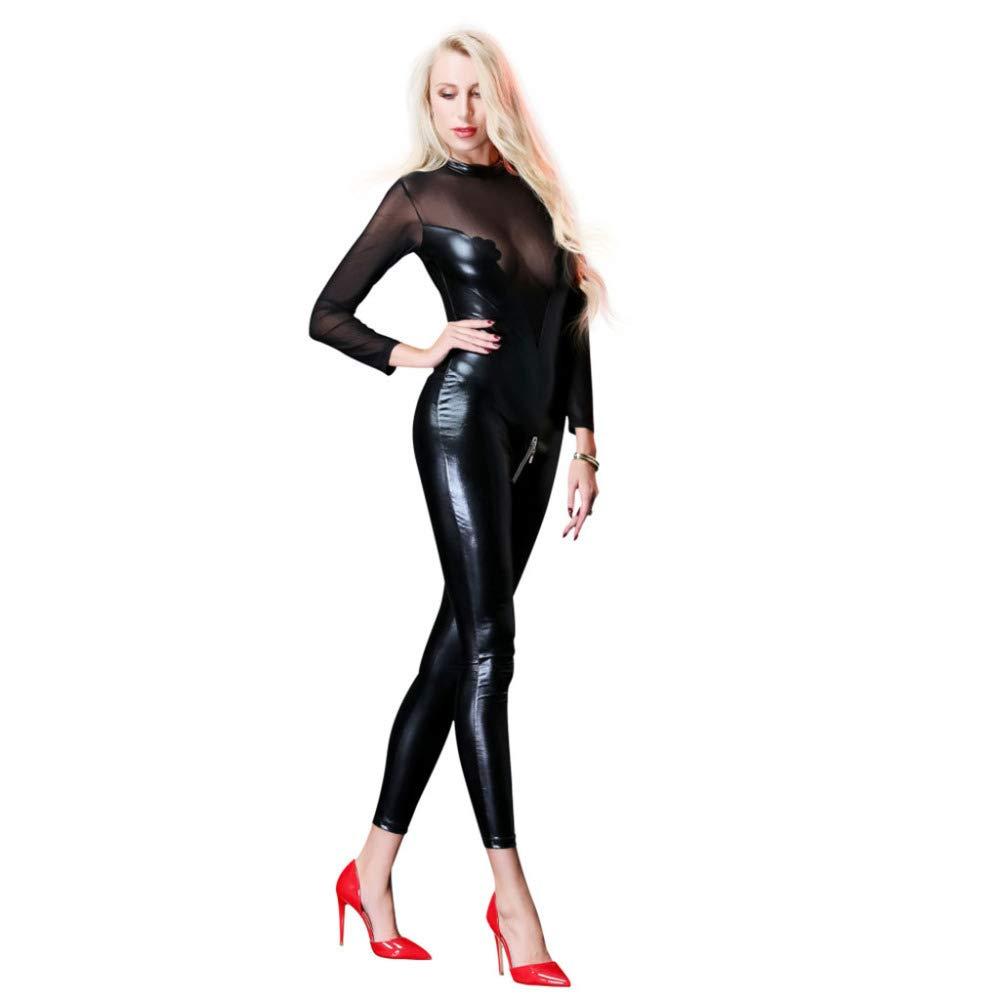 HGUIAZ Catsuit para Mujer Disfraz De De Catwoman De Disfraz Partido De Cosplay Traje Adulto Jumpsuit Carnaval Diseño único De Malla En El Pecho Regalo De San Valentin para Esposa,negro-XL b62003