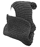 Winter Soft Pullover Knit Infinity Scarf with Pom Beanie Hoodie Scarf (One Size, Charcoal)
