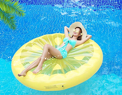 Giant Inflatable Lemon Slice Floating Row Adults Kids Summer Beach Toy Swimming Pool Party Lounge Round Raft-Yellow by WYL (Image #1)