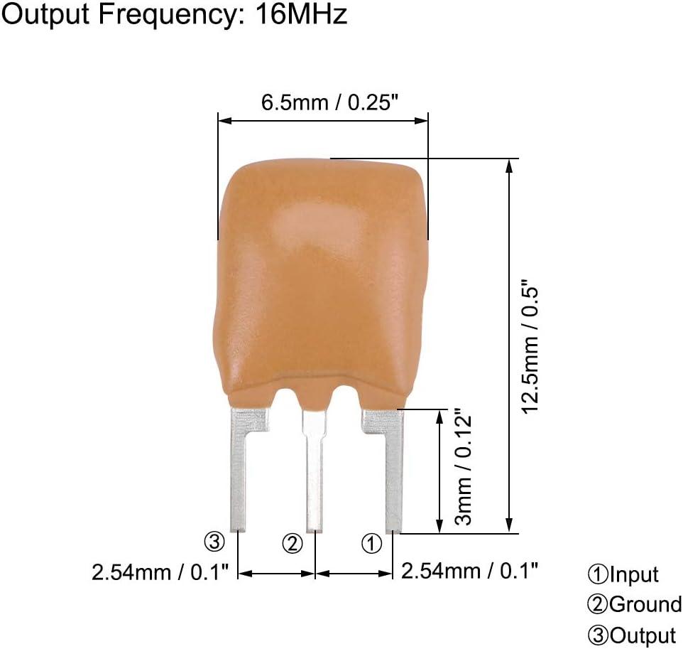 Yellow 10 Pieces sourcing map Ceramic Resonator Crystal Oscillator 16MHz 3 Pin DIP