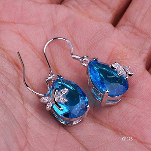 Smile YKK Fashion Boucles d'oreille beauté Stone Bleu Plaqué Argent 925 Oxyde de Zirconium