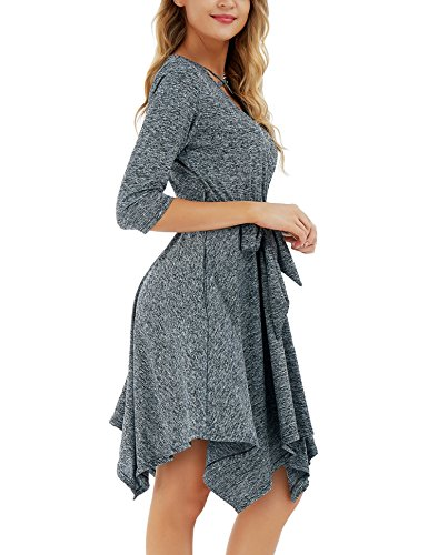 with Vintage Warp Dress Belt Casual Dress Long Criss Loose Dark Dress Grey Sleeve Midi Swing Womens FISOUL Cross 8qA56w