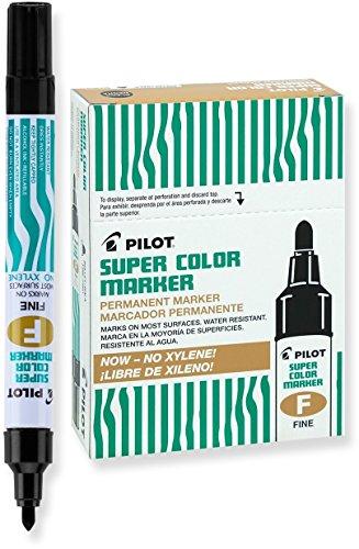 Pilot Super Color Permanent Markers, Fine Point, Xylene-Free, Black Ink, Dozen Box (40600)