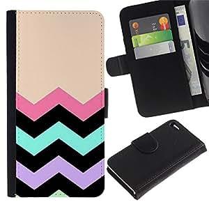 All Phone Most Case / Oferta Especial Cáscara Funda de cuero Monedero Cubierta de proteccion Caso / Wallet Case for Apple Iphone 4 / 4S // líneas chevron melocotón modelo negro rosa