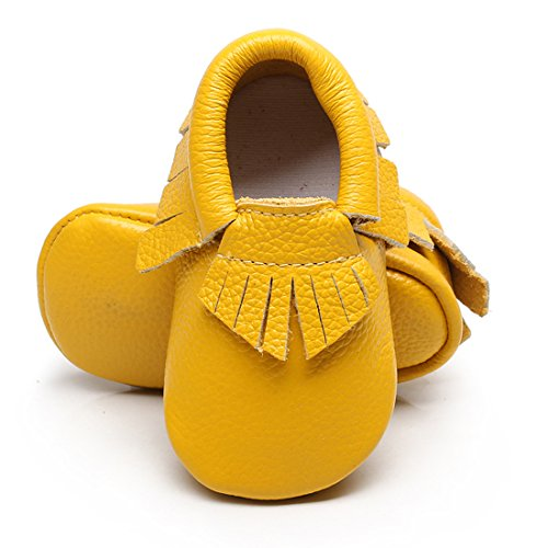 Infant Toddler Moccasins Baby Crib Shoes Soft Leather Sole Tassel Prewalker First Walkers for Boys Girls,Yellow,18-24 Months