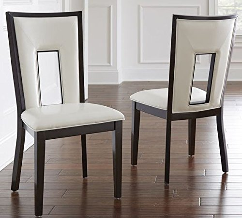 Solid Hardwood Construction, White vinyl covered seats and back with durable welted seams, Faux Leather Domino Keyhole Side Chair in Medium Espresso Finish (Set of - Chair Side Keyhole