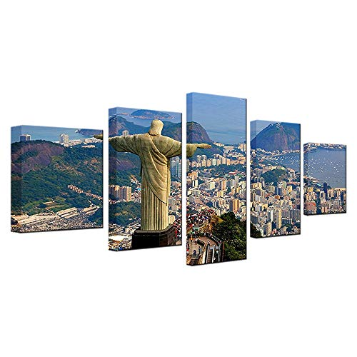 YANGMAN 5 Piece Canvas Wall Art Corcovado Mountain with Christ The Redeemer Statue Landscape Poster Art Print on Canvas for Modern Home Wall Decoration,A,40x602+40x802+40x1001 ()