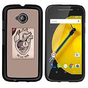 YiPhone /// Prima de resorte delgada de la cubierta del caso de Shell Armor - medicamento para el corazón el amor de texto valentín - Motorola Moto E2 E2nd Gen