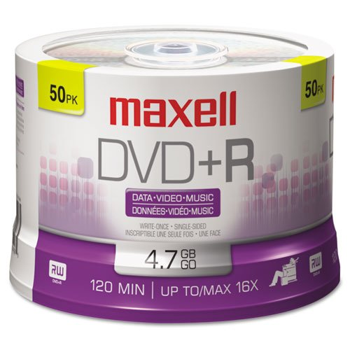 MAXELL Disc, DVD+R, 4.7GB for General use, 16X 50/spindle, Branded 50/PK